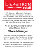 Blakemore Retail Advert